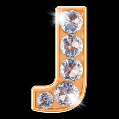 Golden letter J with diamonds. 3D rendering