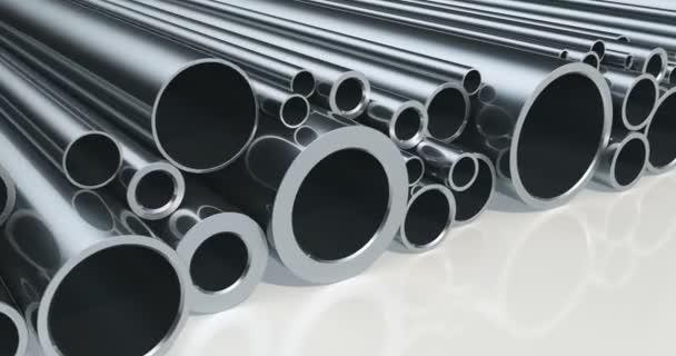 Stapel von Stahlrohren, Loop-Animation. 3D-Darstellung
