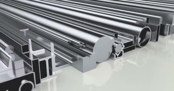 Stapel von gewalzten Metallprodukten, Loop-Animation. 3D-Darstellung