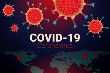 Covid-19 Coronavirus concept, Invasion of germs and viruses that are spread throughout the world, Elements of this image furnished by NASA icon