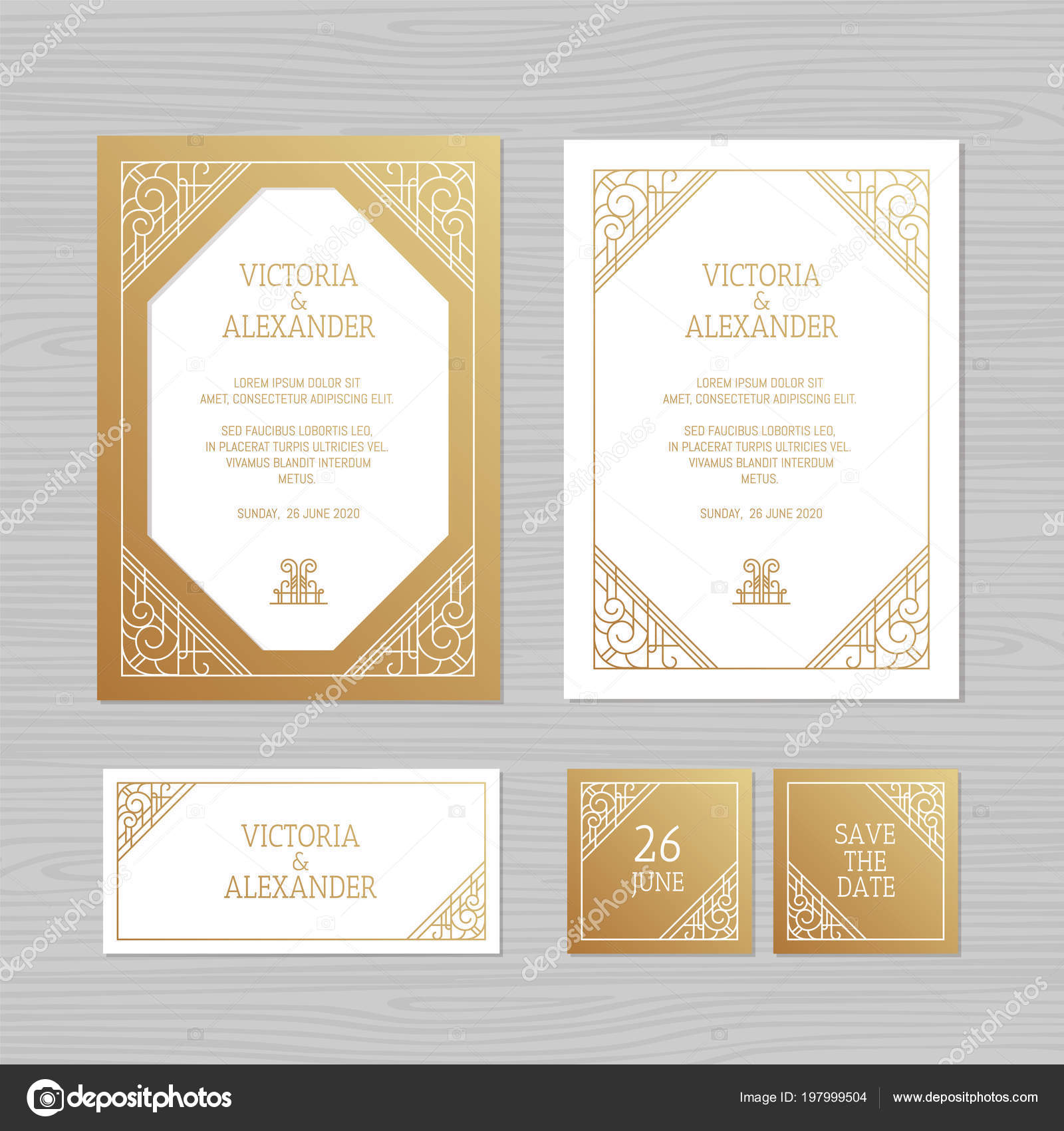 Luxury wedding invitation greeting card geometric ornament art deco paper envelope template wedding invitation envelope mock up for laser cutting vector illustration vector by olgamallary stopboris Image collections
