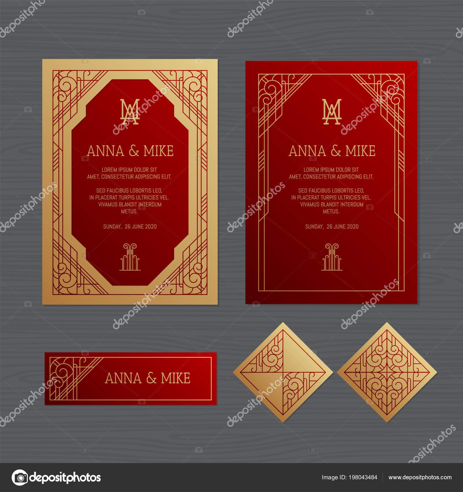 Luxury Wedding Invitation Greeting Card Geometric Ornament Art Deco ...