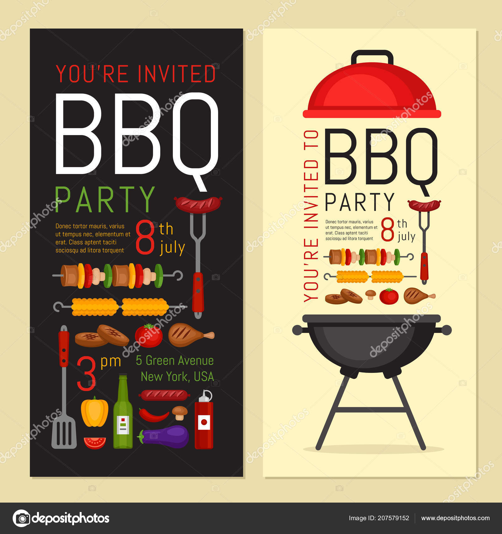 bbq party invitation grill food barbecue poster food flyer flat