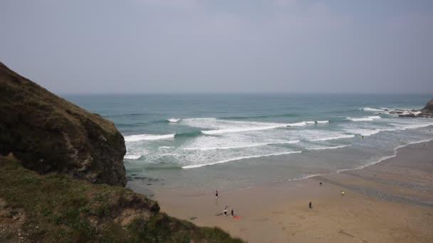 Porthtowan beach Cornwall England UK a popular tourist destination on the North Cornish heritage coast