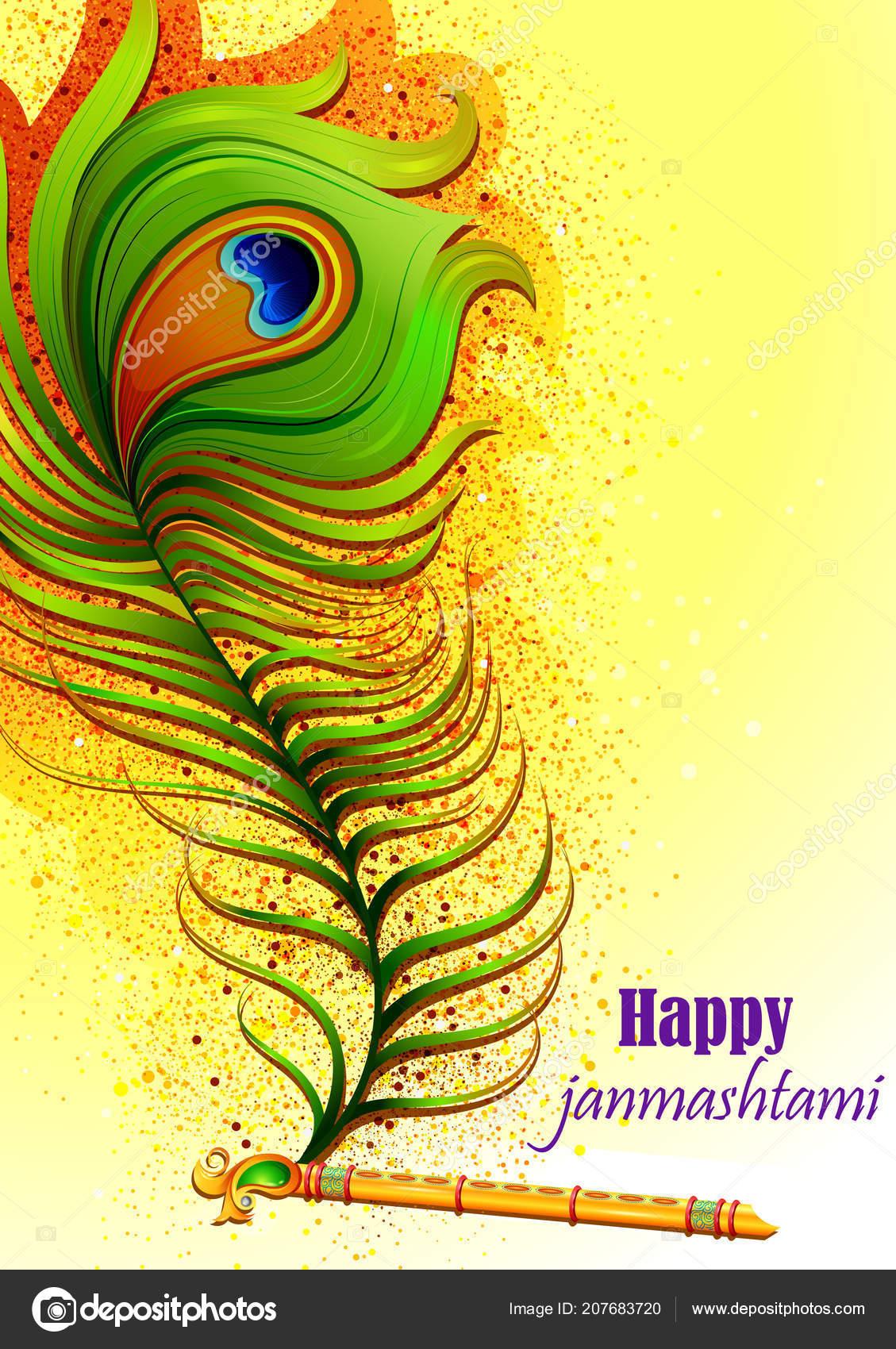 Vector Krishna Flute Krishna Flute On Happy Janmashtami India Background Stock Vector C Stockshoppe 207683720