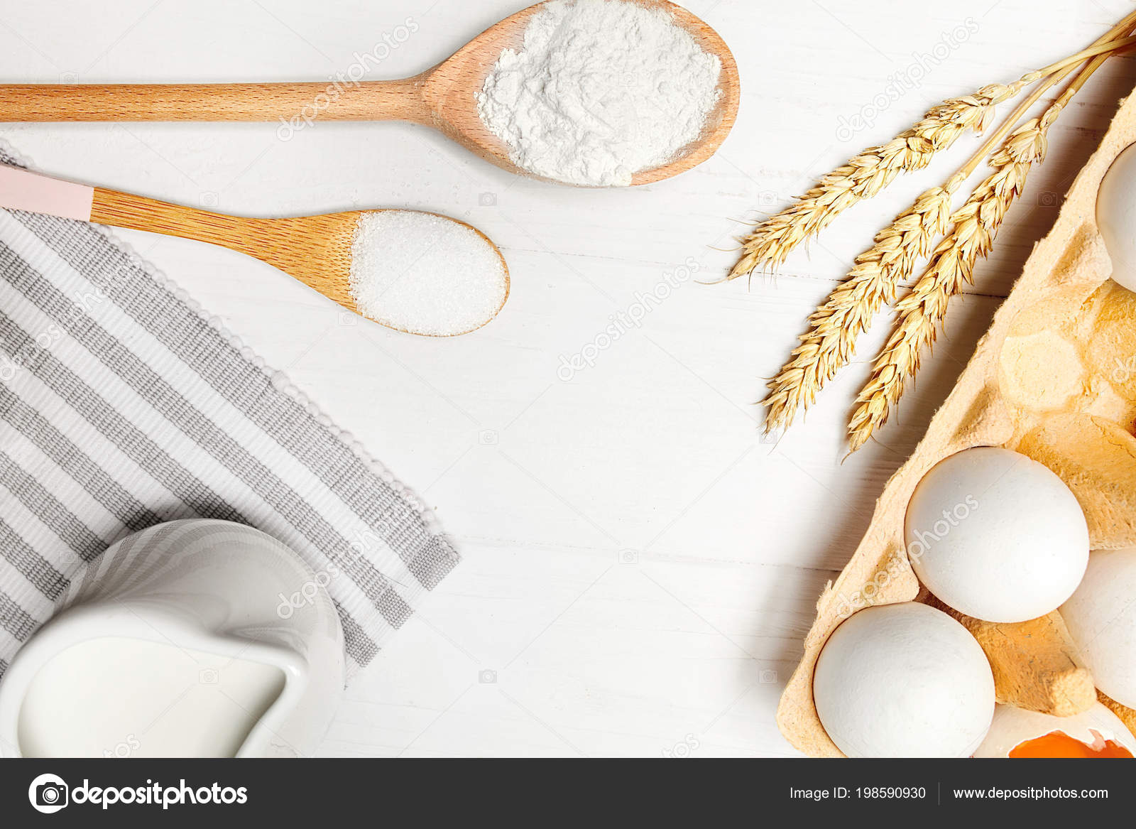 Baking Ingredients On White Table. Various Food Products For Bakery On  Light Background. High Resolution U2014 Photo By Puhhha