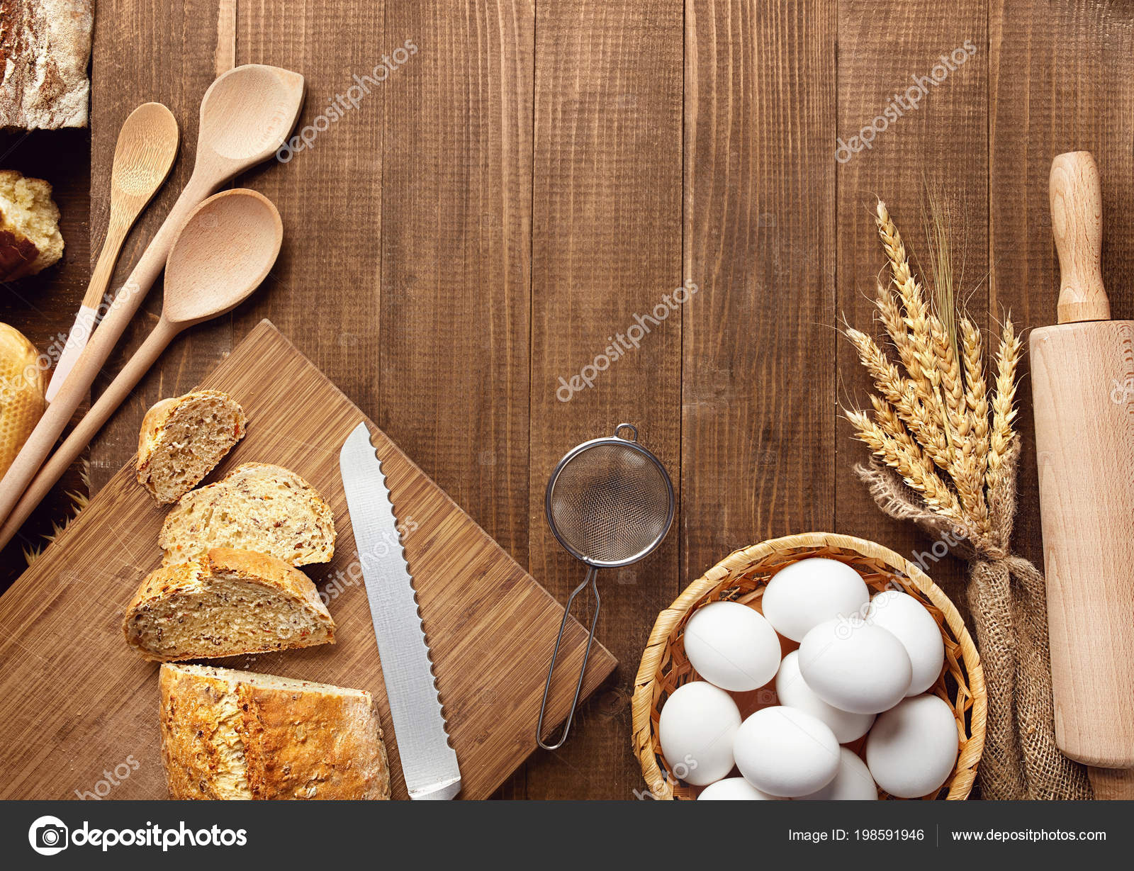 Baking Bread Close Baking Ingredients Products Wood Table