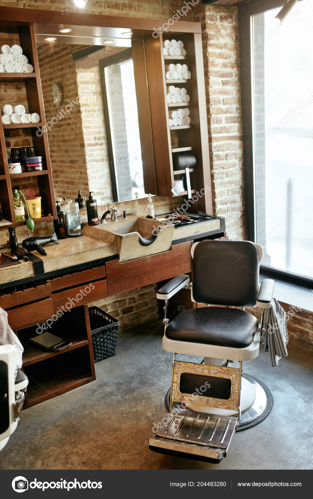 Barber Shop Interieur Männer Beauty Hair Salon Mit Antiken Stuhl ...