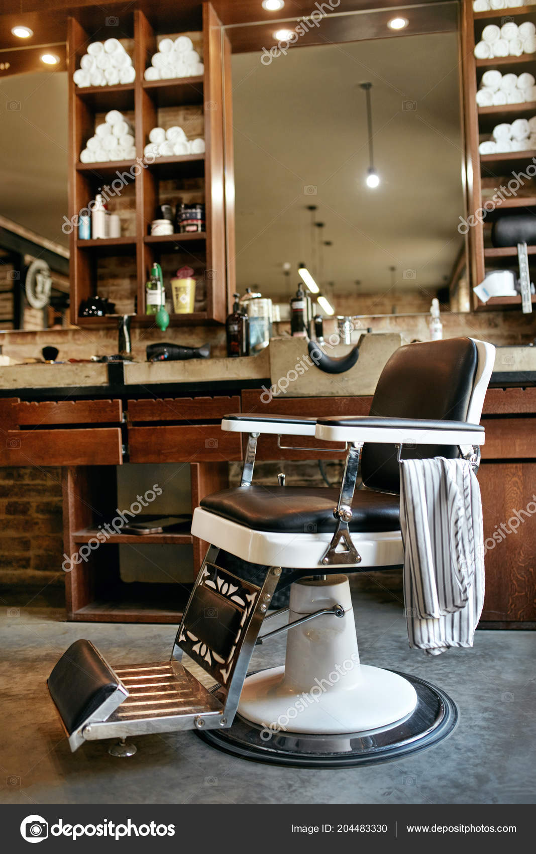 Iictures Barber Shop Interiors Barber Shop Interior Men Beauty Hair Salon Antique Chair Mirror Stock Photo C Puhhha 204483330
