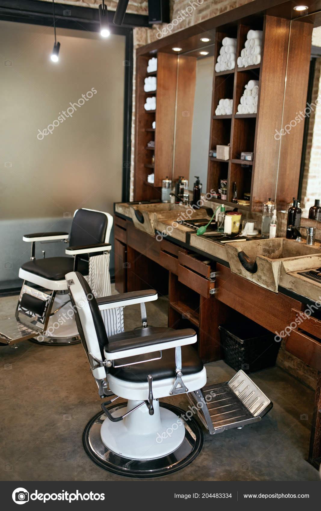 Barber Shop Interior Salon Coiffure Hommes Beaut Avec Chaise Antique Photo