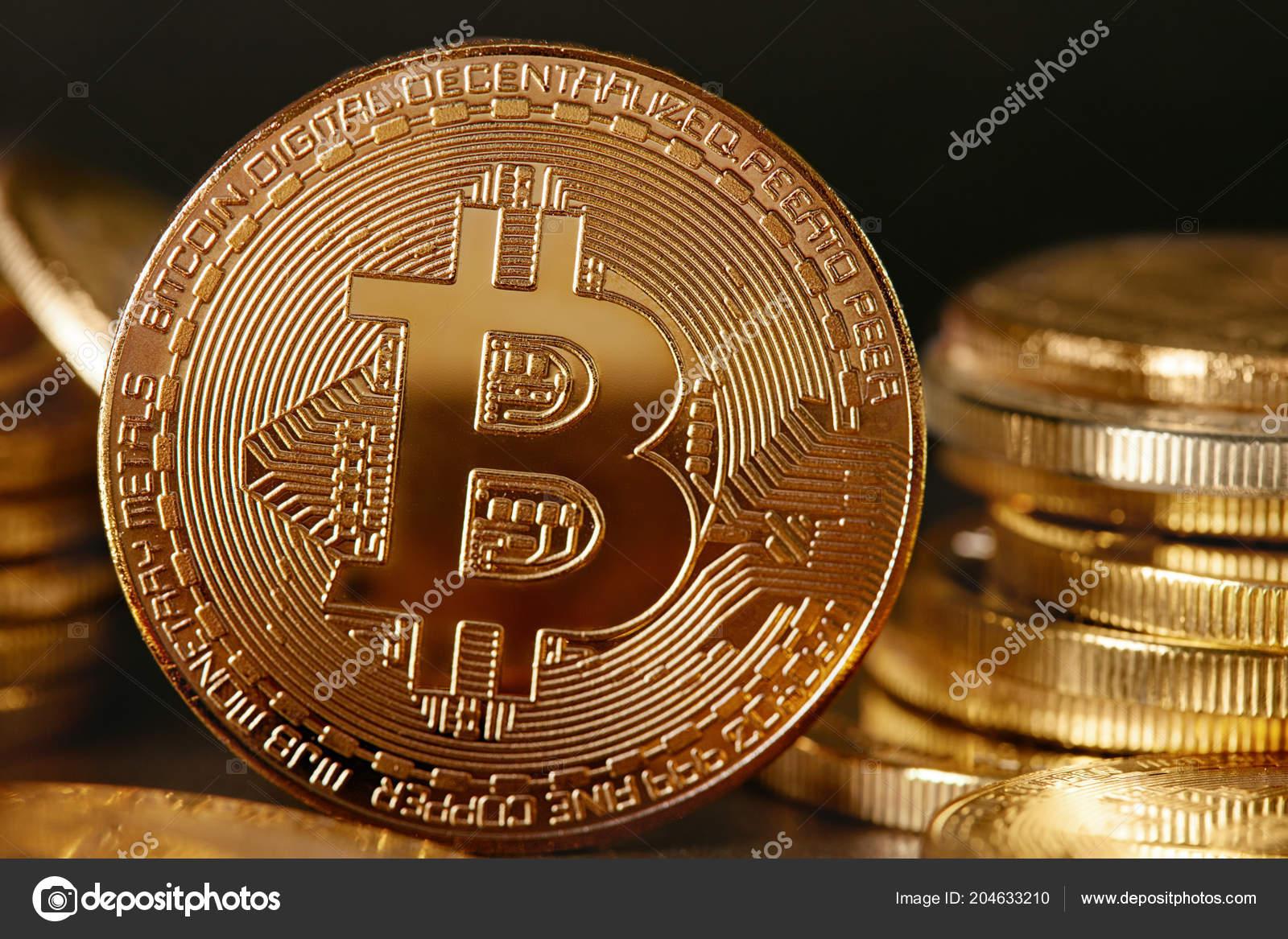 Digital Currency Gold Bitcoin Coins Dark Background Closeup High