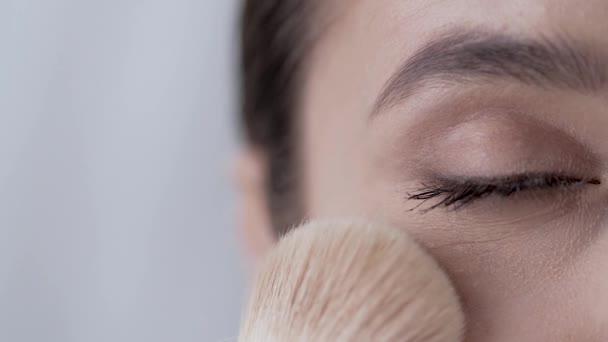 Face Makeup. Closeup Woman With Closed Eye Powdering Skin