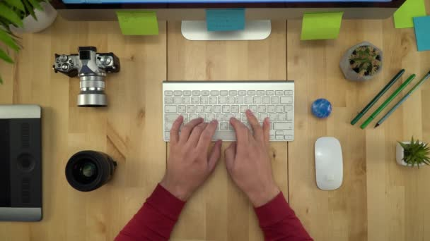 Flat Lay Of Man Hands Working On Computer