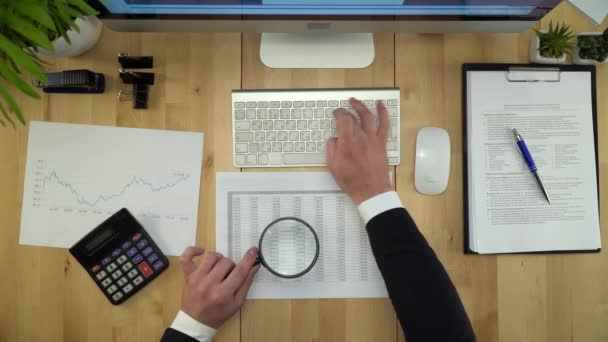 Business Man Working With Documents At Financial Office Flat Lay