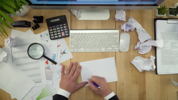 Businessman Working At Table With Crumpled Papers Flat Lay
