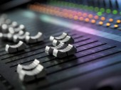 Photo Sound Recording Studio Mixing Desk Closeup. Mixer Control Panel
