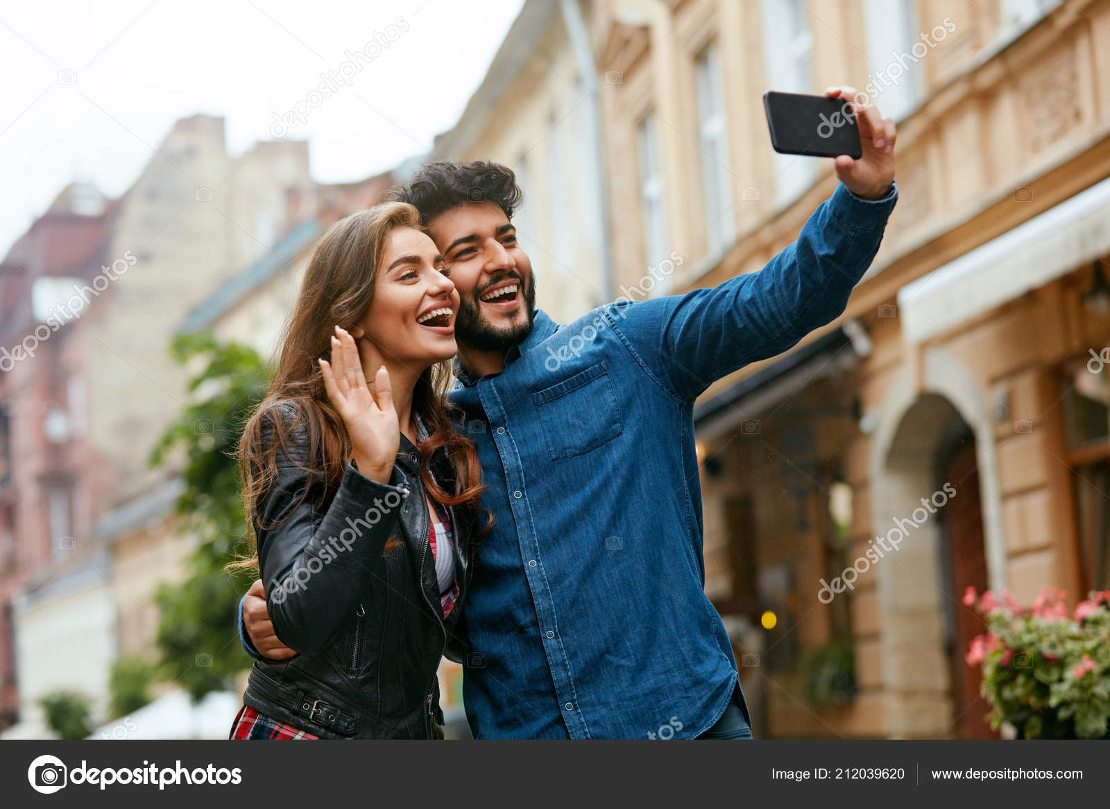 Video Call  People Using Phone For Internet Call In City  — Stock
