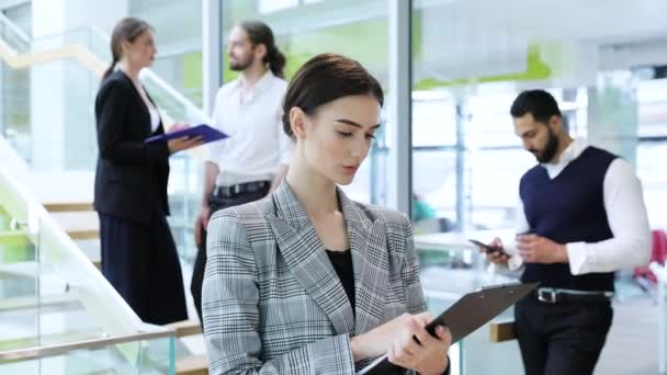 Business Woman With Folder In Hands At Working In Office