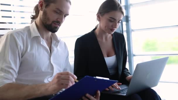 Business Office. Man And Woman Working At Computer
