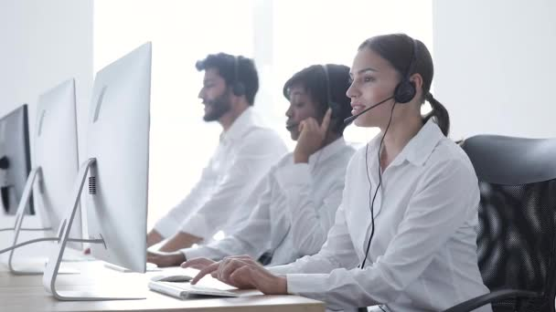 Call Center Sales. Happy Woman Operator After Successful Deal