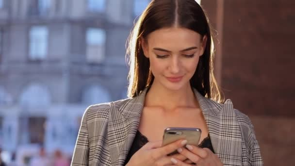 Beautiful Business Woman Using Mobile Phone Outdoor On Sunny Day