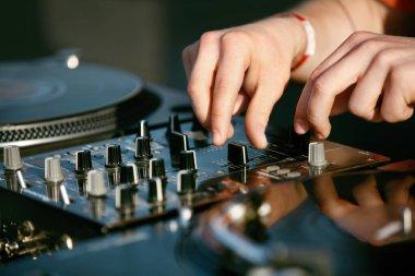 DJ Mixing Music Track On Festival