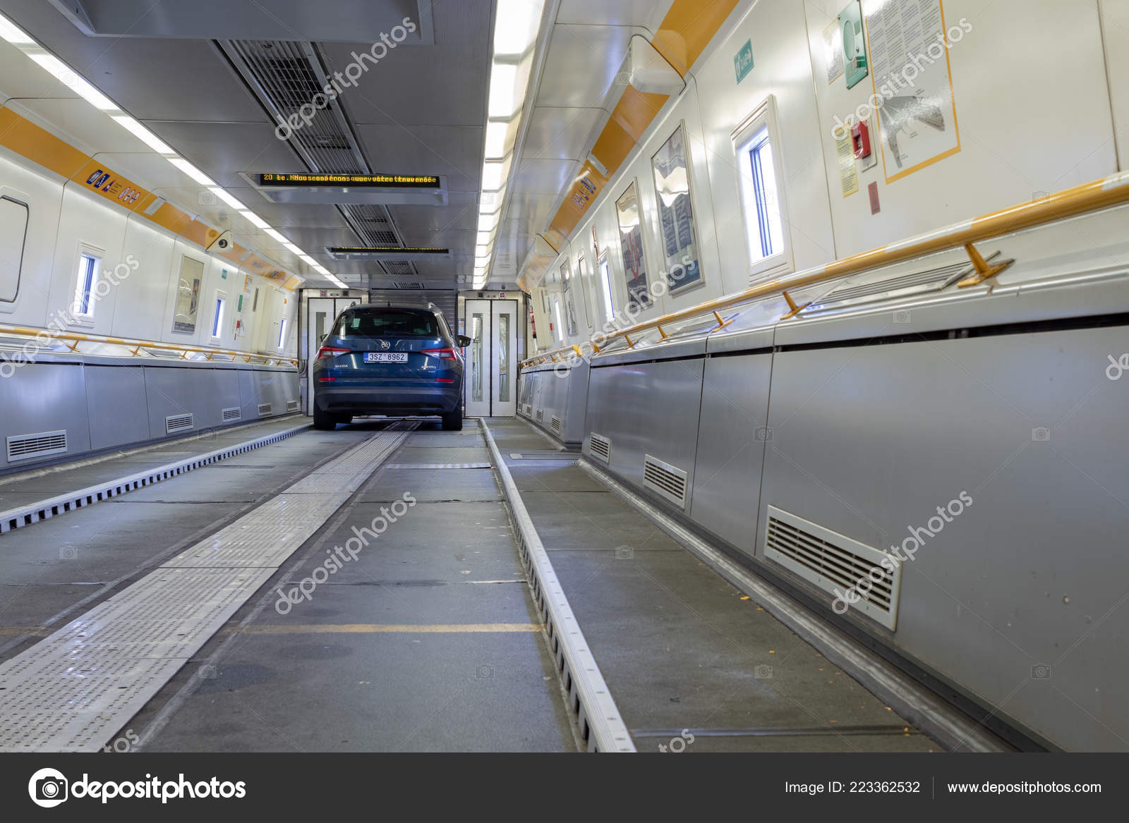 Eurotunnel Train France July 2018 Blue Car Board Eurotunnel Train