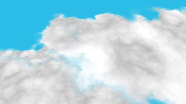 Letí bílými mraky pod modrou oblohou. Blízký pohled na bílé mraky