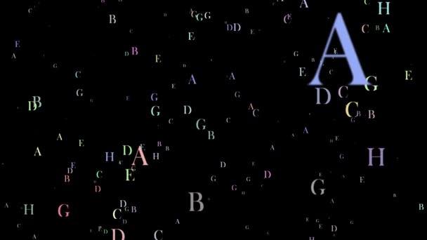 Angol nyelven repülő betűk vagy ábécé, fekete háttér előtt. Repülő betűk fogalma vége írások a szentírások, vagy könyvek