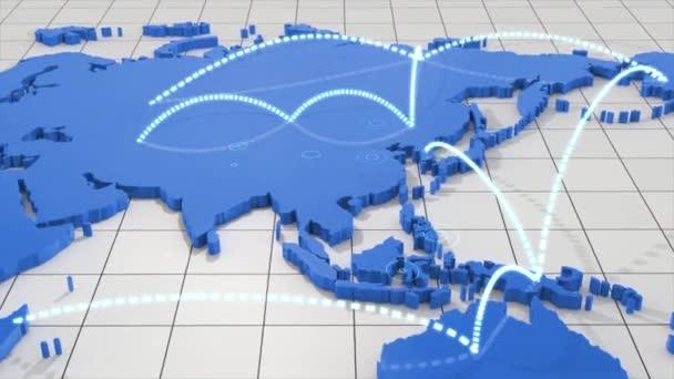 Reisen Sie um die Welt mit Animation der Karte. Reisen Sie auf der Weltkarte in der östlichen Welt. Reisekonzept-Animation für Reisebüros.