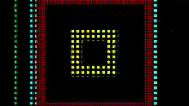 Absztrakt Motion háttér loop-képes animáció. Színes mozgó fények geometriai alakzatok fekete háttér