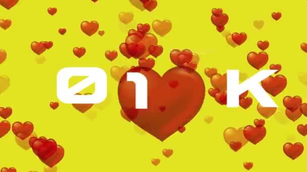 Szociális média számláló a szeret és a szíveket. Animált számláló a szíveket, és szereti a szociális média üzleti.