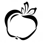 Apple, maloval v černé hladké čáry