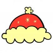 Teplá červená čepice s načechraná kožešina a sněhové vločky