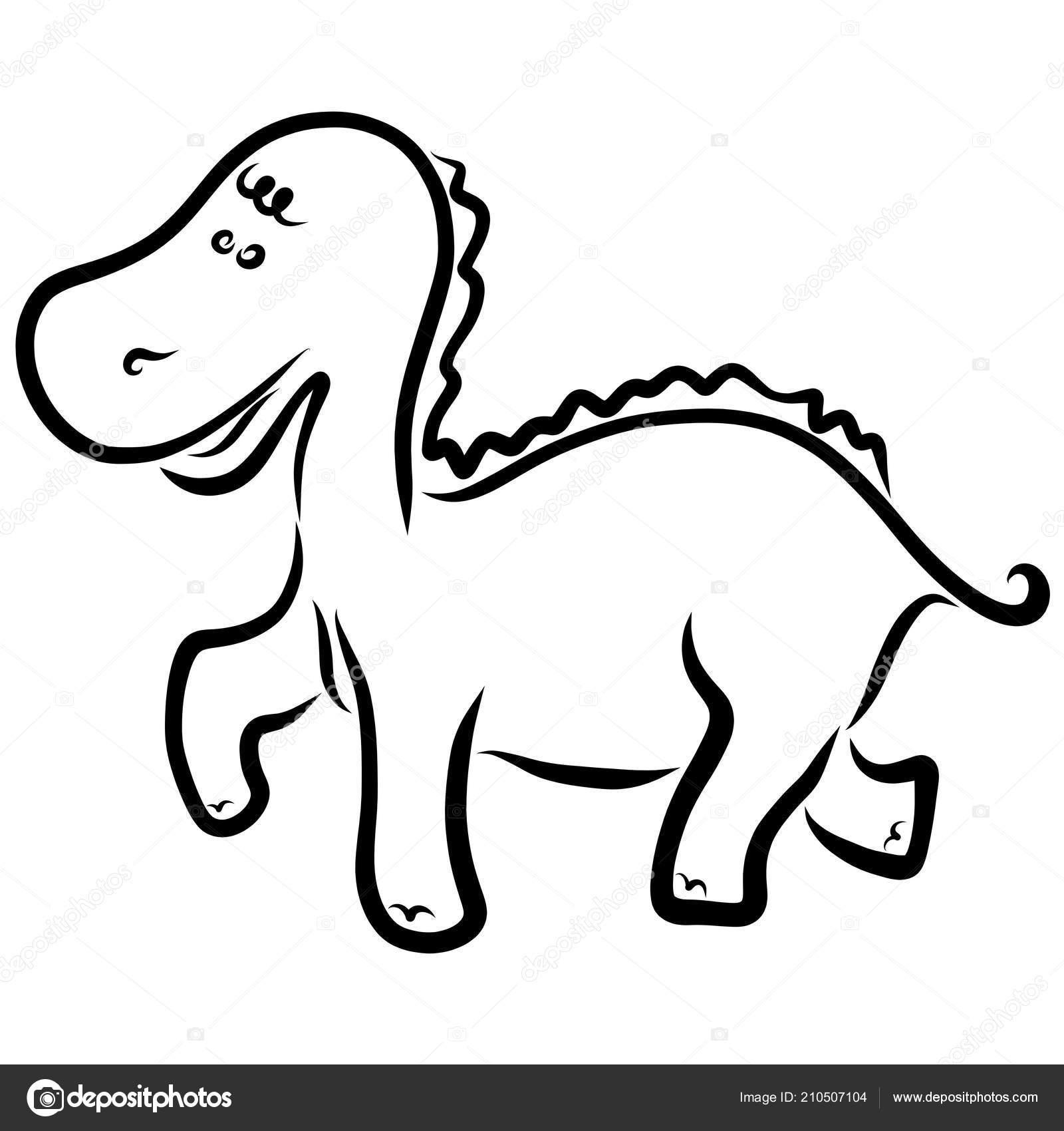 Coloriage Petit Pied Le Dinosaure.Contour Drole Petit Dinosaure Noirs Enfants Coloriages