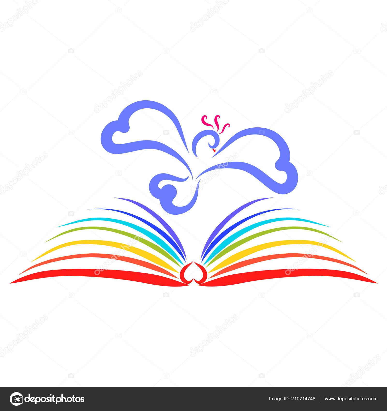 Oiseau Qui Vole Sur Livre Avec Des Pages Arc Ciel