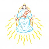 The Son of God sitting on the throne and sending the light