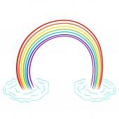 Fotografia Una permanente colorato arcobaleno sulle nubi