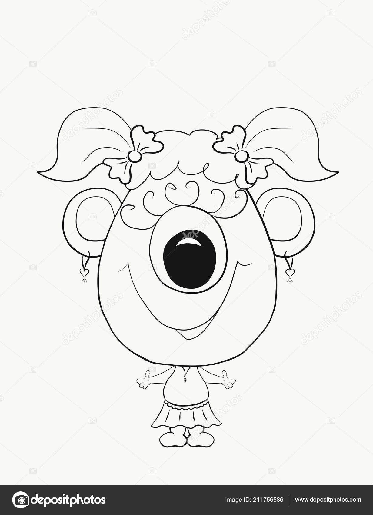 Kleurplaten Babyfles.Kleurplaat Voor Kinderen Grappige Kleine Monster Meisje