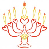 Fotografie Candlestick with the image of a lily, hearts and seven candles in the form of symbolic fish