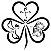 Fotografie Clover with three leaves in the shape of heart and Christian symbols, the Triune God