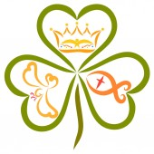 Fotografie The crown, the fish and the bird in the leaves of the clover, the Trinity of God