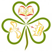 Fotografie Clover with three leaves, Bible, bird and crown in hearts