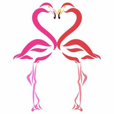 Flamingo birds in love form a heart
