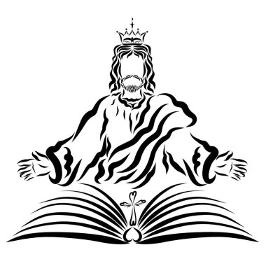 The Lord Jesus in the Crown with an open book and a cross