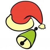 Červený Santa Claus klobouk a zelený zvonek