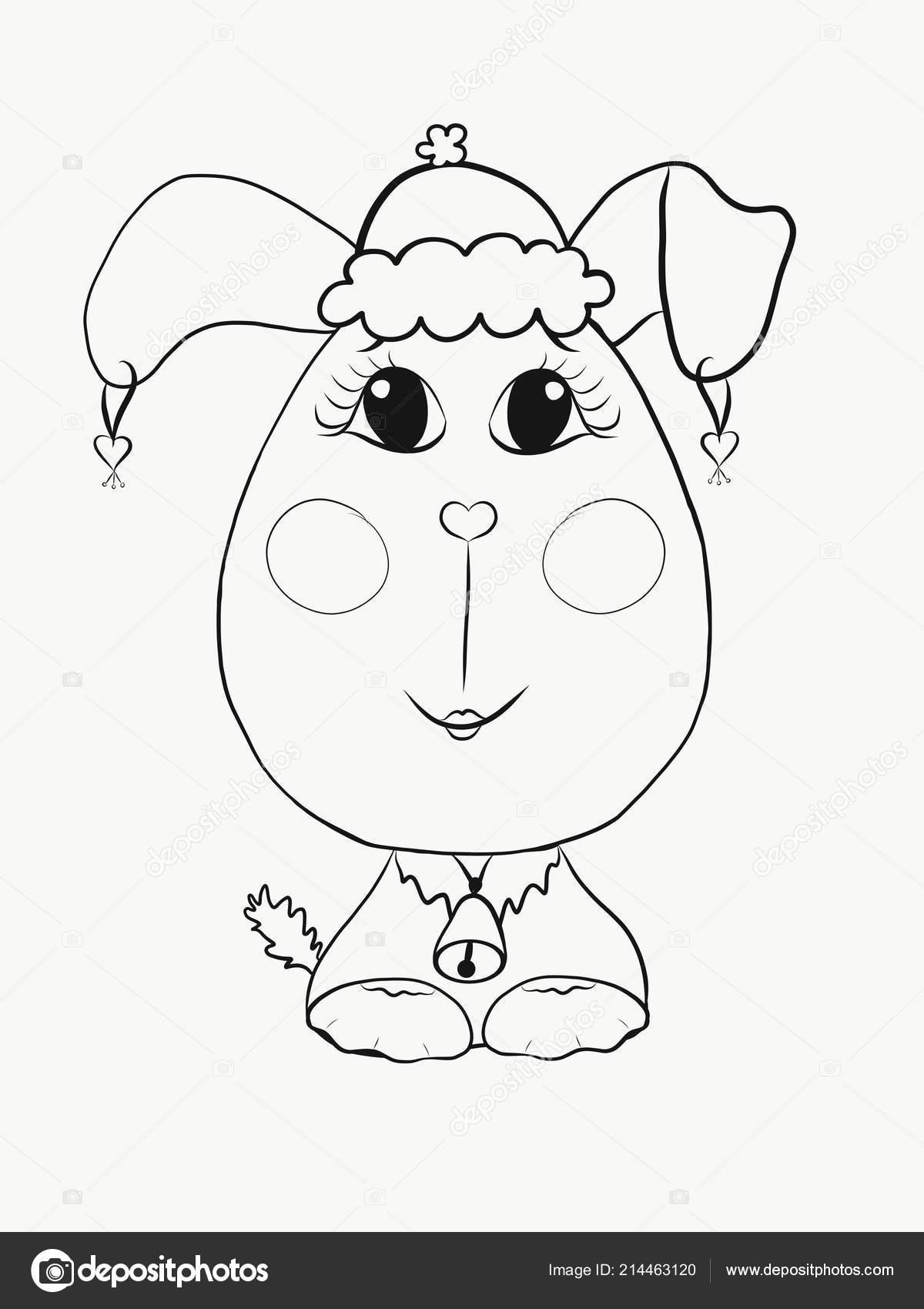 Boyama Sevimli Köpek Yavrusu Kız Noel şapkalı Stok Foto