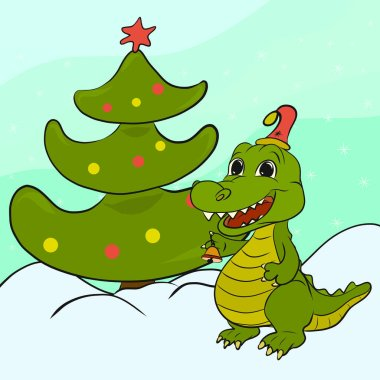 Funny crocodile with bell and Christmas tree