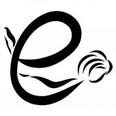 Creative písmeno E, flexibilní žena, černé čáry