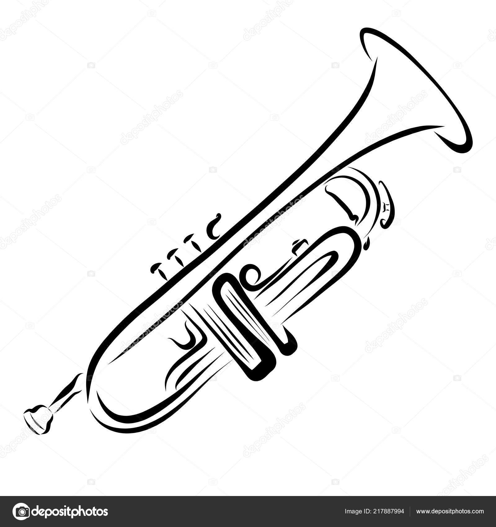 Trompete Instrumento Musical Desenho Linhas Pretas